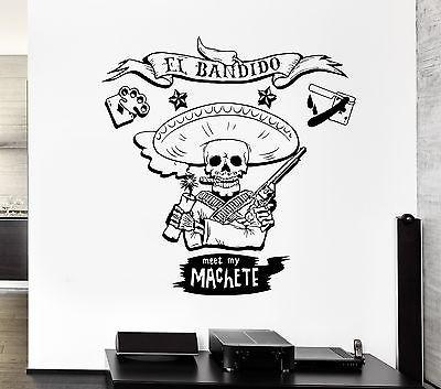 Wall Decal Machete Bandit Skeleton Spain Wild West Mural Vinyl Stickers Unique Gift (ed041)