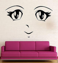 Manga Wall Stickers Anime Cartoon Face for Kids Nursery Teen Eyes Decal Unique Gift (ig2368)