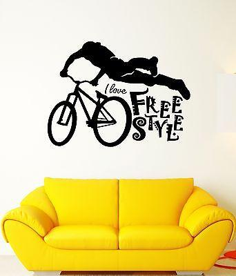 Wall Decal Free Style Bicycle Sport Extreme Cyclist Speed Vinyl Stickers Unique Gift (ed151)