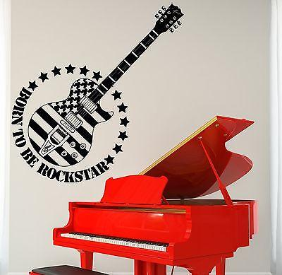 Wall Vinyl Music Guitar Rock US Flag Guaranteed Quality Decal Unique Gift (z3497)