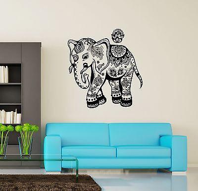 Wall Vinyl Elephant Floral Flower Tribal Ornament Mural Vinyl Decal Unique Gift (z3368)