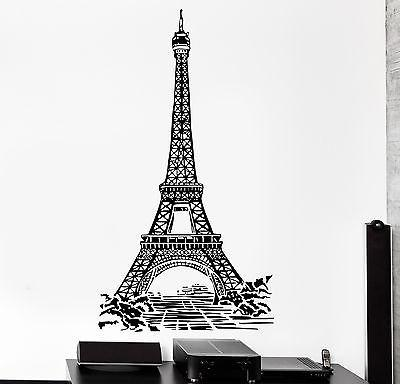 Wall Decal Paris France Eiffel Tower Romantic Travel Vinyl Decal Unique Gift (z3122)