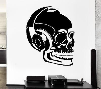 Wall Decal Headphones Music Skull Scary Cool Rock Pop For Bedroom Unique Gift (z2746)