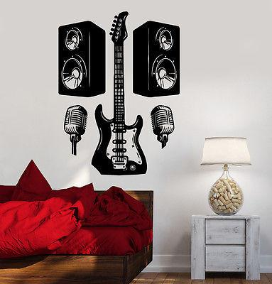 Wall Vinyl Music Rock Guitar Microphone Guaranteed Quality Decal (z3528)