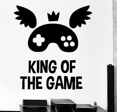 Wall Sticker Gaming Quote King Of The Game Vinyl Decal Unique Gift (z3089)