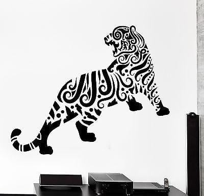 Wall Decal Tiger Animal Floral Ornament Tribal Mural Vinyl Decal Unique Gift (z3308)