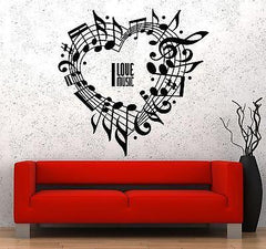 Wall Vinyl Music Notes Love For Bedroom Guaranteed Quality Decal (z3513)