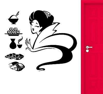 Sushi Wall Stickers Japan Geisha Food Restaurant Vinyl Decal Unique Gift (ig2406)