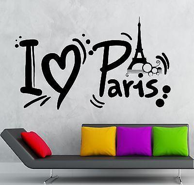 Wall Sticker Vinyl Decal Paris France Europe Romantic Room Decor Travel Unique Gift (ig2136)
