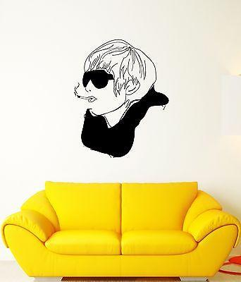 Wall Decal Style Fashion Glasses Cigarette Scarf Head Vinyl Stickers (ed095)