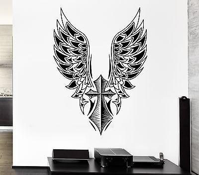 Wall Decal Cross Angel Wings Freedom Swing Mural Vinyl Stickers Unique Gift (ed036)