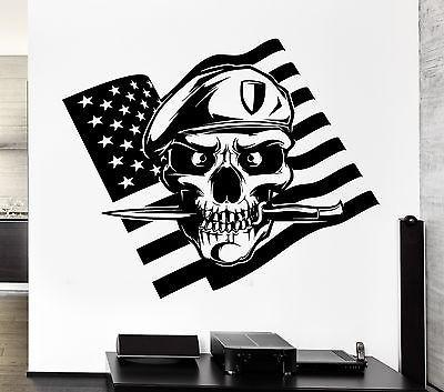 Wall Decal American Flag Skull Soldier Death War Knife Vinyl Stickers Unique Gift (ed146)