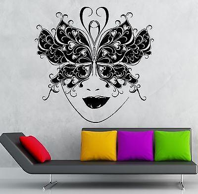 Wall Sticker Vinyl Decal Masquerade Mask Theatre Sexy Girl Face Unique Gift (ig1885)