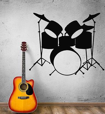 Wall Stickers Vinyl Decal Drums Musical Instruments Music Rock Pop Art (ig382)