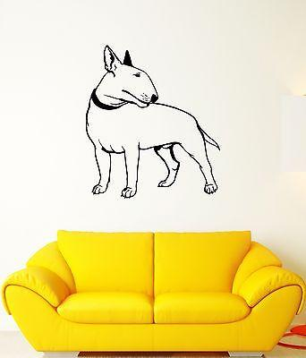 Wall Decal Bullterrier Dog Pet Animal Feet Tail Guard Vinyl Stickers (ed081)
