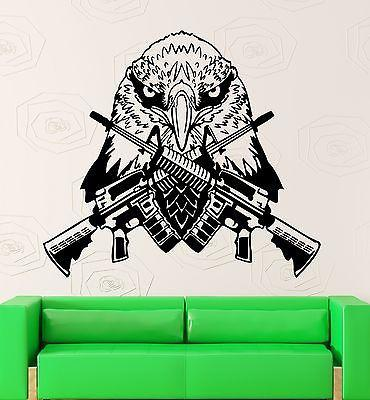 Wall Sticker Vinyl Decal Eagle Bird Gun Army Military War Design Room Unique Gift (ig2219)