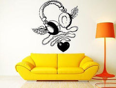 Wall Sticker Headphones Heart Wings Music Rock For Living Room (z2614)
