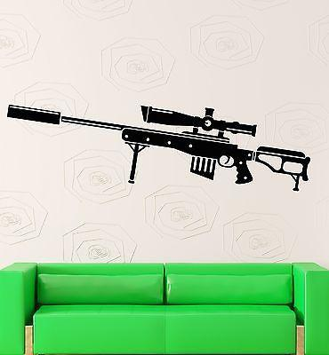 Wall Decal Weapons Gun War Sniper Military Decor Vinyl Stickers Art Mural Unique Gift ig2584