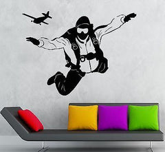 Wall Stickers Vinyl Decal Skydiving Extreme Sports Room Decor Unique Gift (ig1757)