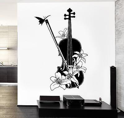 Wall Vinyl Music Violin Flower Floral Guaranteed Quality Decal Unique Gift (z3550)