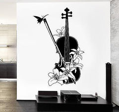 Wall Vinyl Music Violin Flower Floral Guaranteed Quality Decal (z3550)