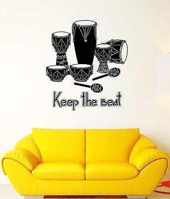 Wall Decal Music Art Drum Rhythm Africa ��oncert Mural Vinyl Stickers Unique Gift (ed007)