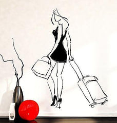 Wall Decal Fashion Girl Woman Travel Trip Bags Beauty Vinyl Sticker Unique Gift (z3596)