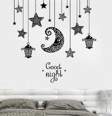 Vinyl Decal Wall Quote Good Night Moon Stars Candle Lantern Light Romantic Sticker for Bedroom Unique Gift (z3191)