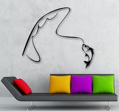 Wall Stickers Vinyl Decal Fishing Rod Fish Hobbies Recreation Unique Gift (ig279)