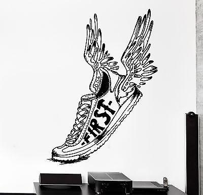 Wall Stcker Sport Winged Shoe First Running Jogging Vinyl Decal Unique Gift (z3062)