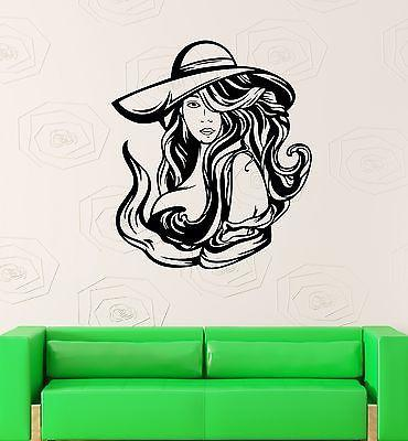Wall Decal Sexy Girl Hair Hat Hair Hot Beautiful Woman Vinyl Stickers Unique Gift (ed241)