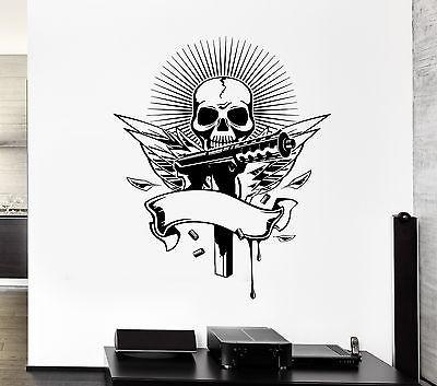 Wall Decal Skull Gun Sleeve Wings War Death Blood Mural Vinyl Stickers Unique Gift (ed048)