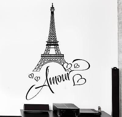 Wall Decal Paris Eiffel Tower France Romantic Sticker For Living Room Unique Gift (z2845)