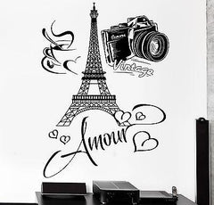 Decal Paris Eiffel Tower Amour Love Hearts Cup Of Coffee Vintage Camera (z2850)