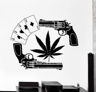 Wall Vinyl Weed Marijuana Guns Cards Mural Vinyl Decal Unique Gift (z3386)