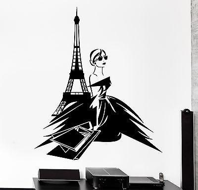 Wall Decal Paris France Sexy Girl Shopping Eiffel Tower Vinyl Decal (z3140)