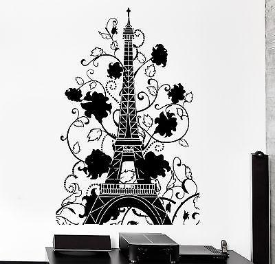 Wall Decal Paris France Eiffel Tower Flower Romantic Vinyl Decal Unique Gift (z3129)