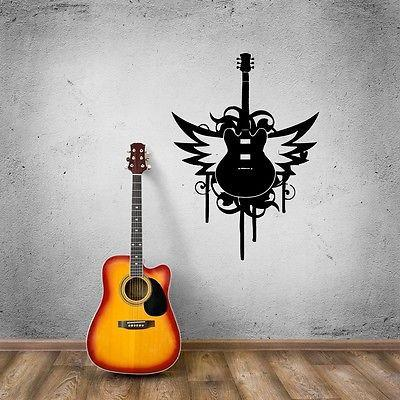 Wall Stickers Vinyl Decal Music Guitar Rock Music Lover Wings Unique Gift (ig500)