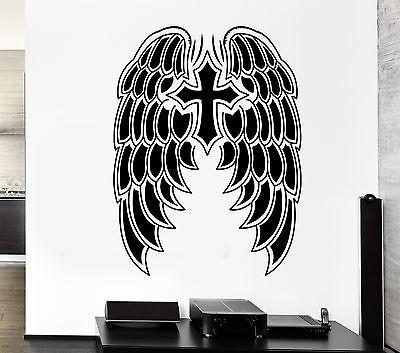 Wall Decal Cross Symbol Daemon Angel Wings Heaven Mural Vinyl Stickers Unique Gift (ed037)