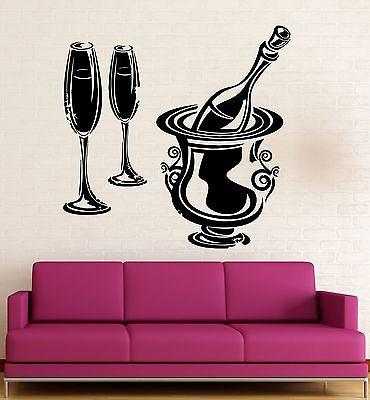 Wall Stickers Vinyl Decal Restaurant Wine Champagne Drink Kitchen Bar (ig2303)