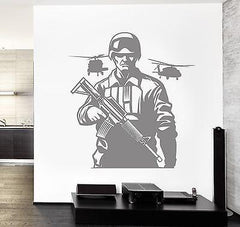 Wall Vinyl Army Soldier Helicopter Rifle Guaranteed Quality Decal (z3464)