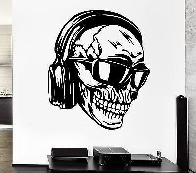 Wall Decal Headphones Skull Music Cool Decor Rock Pop For Bedroom Unique Gift (z2747)