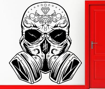 Wall Sticker Vinyl Decal Hippien Skull In Gas Mask Scary Cool Teen Unique Gift Z2402