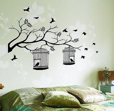 Wall Decal Birds Cage Tree Branch Nature Vinyl Sticker Unique Gift (z3623)