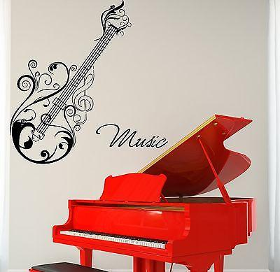 Wall Vinyl Music Guitar Flower Ornament Guaranteed Quality Decal Unique Gift (z3508)