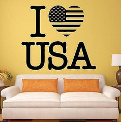 USA Wall Stickers Decal I Love United States Patriot Flag Decor for Room (ig474)