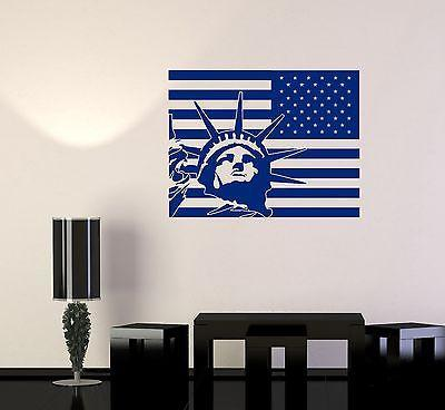 Wall Vinyl USA Flag Statue Of Liberty New York Cool Decal Unique Gift (z3422)
