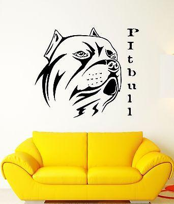 Wall Decal Dog Pitbull Animal Guard Friend Collar Mural Vinyl Stickers Unique Gift (ed035)