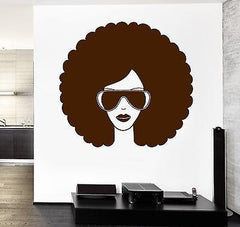 Wall Vinyl Music Black Afro American Girl Guaranteed Quality Decal (z3551)