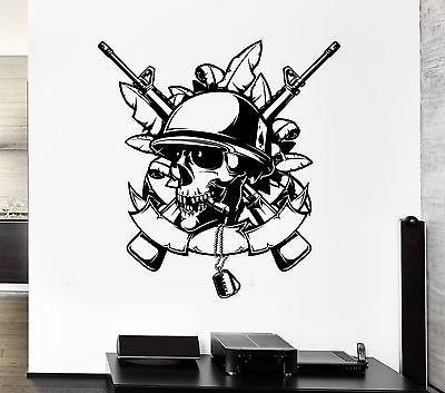 Wall Decal Skull Army Soldier Weapons Death Automatic Vinyl Stickers Unique Gift (ed145)